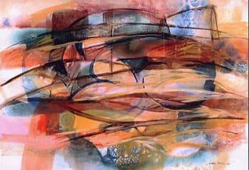 Laura Borelli - Città di vetro, tecnica mista su carta