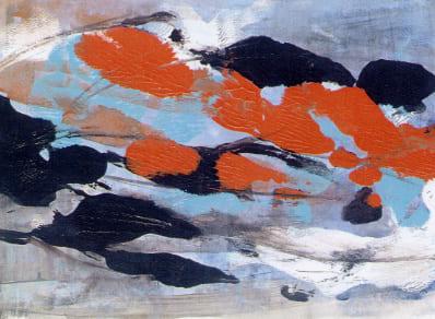 Laura Borelli - Nuvole rosse, acrilico su cartone